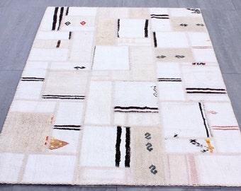 Turkish Patchwork,Hemp Kilim ,Rug ,Carpet ,Anatolian Striped Patchwork -wool rug-Handmade,P2321,120x180=2.16 m2,4x6 ft