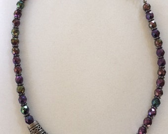 Chico's Bib Necklace with purple stones