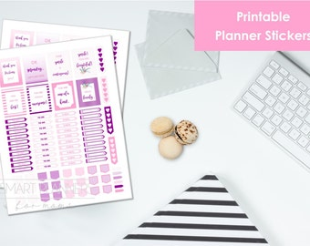 "Printable planner Stickers, pink and purple color. US Letter Size (8.5""x11""), Portrait. To do digital stickers. Instant download."