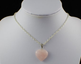 Rose Quartz Heart Crystal Stone Silver Plated Necklace