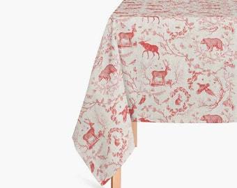 Christmas Tablecloth - Red Toile - Tablecloth - Christmas - Holiday Tablecloth - Christmas Decor - Holiday Decor - Christmas Linens - Gift