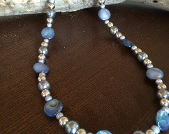 """Grey and blue beaded necklace 20"""""""