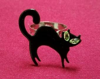 Black Cat Adjustable Ring- Kitsch, Rockabilly Retro/Vintage/Mid-Century Inspired, Halloween