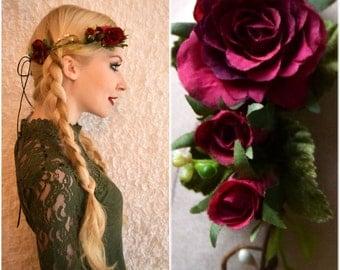 MYREA ROUGE - flower wreath, Elf Crown, wedding, Bridal wreath, Bridal jewelry, summer, boho,.