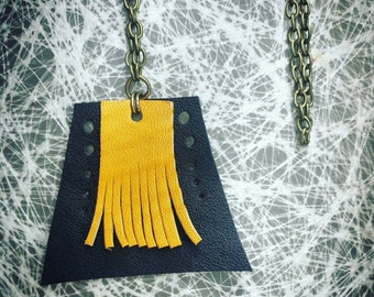 Black and Mustard Geometric Fringe Leather Pendant Necklace