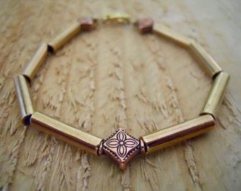 Gold & copper beaded bracelet / handmade