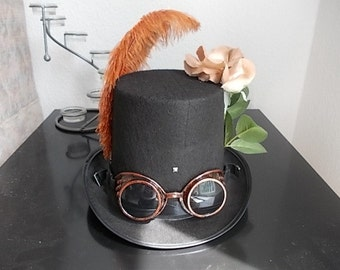 Gothic Steampunk Hat With Goggles,Rose, Feathers Size 58 New