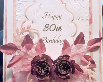 birthday cards, special occasion cards, 80th birthday cards, handmade cards, cards for her, unique birthday cards, gifts for her