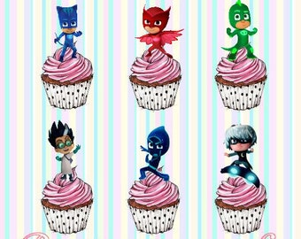 24x PJ Masks Stand-Up, Pre-Cut, Wafer Paper Cupcake Toppers