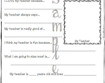 Thank You for being a Great Teacher Printable -- INSTANT DOWNLOAD --
