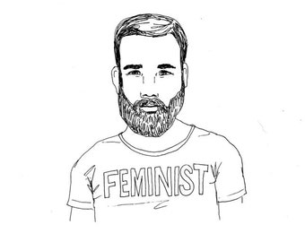 Feminist Man with Beard Original Pen and Ink Illustration