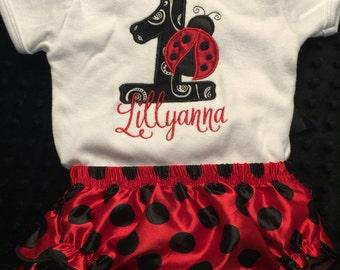 Custom Embroidery Shirt, Birthday shirt, Ladybug birthday outfit with bloomers, birthday outfit, bloomers-RUSH ORDER