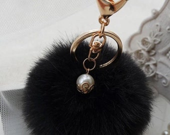 POM POM key chain/ bag charm in black