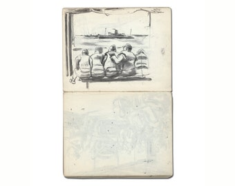 Original WWII Sketch - Five Soliders