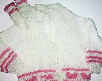 Girls knitted cardigan and bootie set