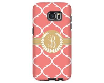 Monogram Galaxy S8 case, coral moroccan tile Galaxy S7 Edge case, Google Pixel case, Galaxy S6 case, Galaxy A3 case, 3D Galaxy cases