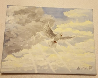 Painting Dove in Cloudy Sky