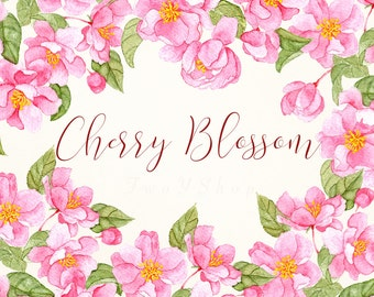Cherry Blossom bouquet Watercolor,  Hand painted clipart, Digital download