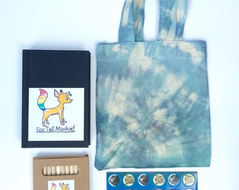 Blue Stiped Tie Dye Activity Tote