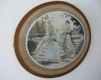 Original french oval etching, hand colored and signed! Gibson ... c. 1910