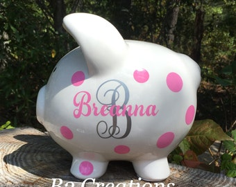 Personalized Piggy Bank, Ceramic Piggy Bank, Custom Large Piggy Bank, Girl Piggy Bank, Kids Piggy Bank, Christmas in July