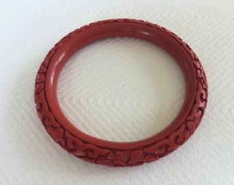 Vintage carved cinnabar bracelet