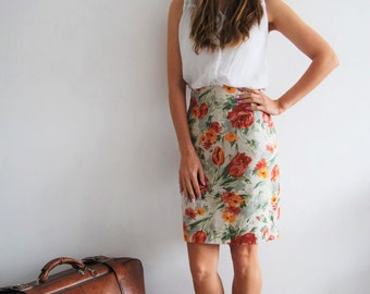 Vintage 80s Floral Pencil Skirt - UK 10/12