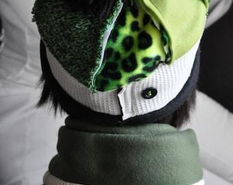 Gift Set/Coordinating Hat and Scarf Set/Upcycled Beanie Style/Size Medium FA15