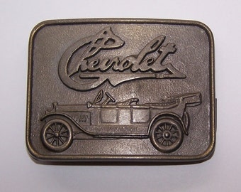 Brass Chevrolet Belt Buckle, Stamped R.J. Roberts & Co. Rochester, Mich