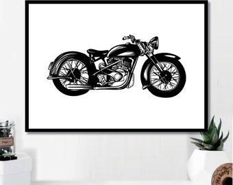 Vintage Motorcycle Print // Minimalist Poster // Wall Art Print // Typography // Fashion // Scandinavian Poster // Boho // Modern Office