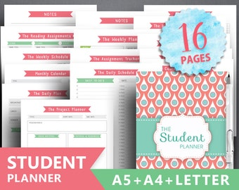 "College planner printable: ""STUDENT PLANNER"" Letter, A4, A5, Academic Planner, Student Assignment, Student Project, Weekly Schedule, Project"