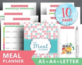 """Meal Planner Printable: """"FOOD PLANNER"""" Weekly Meal Planner, Menu Planner, Printable Meal Schedule, Shopping list, A4 A5 Insert Pages, Diet"""