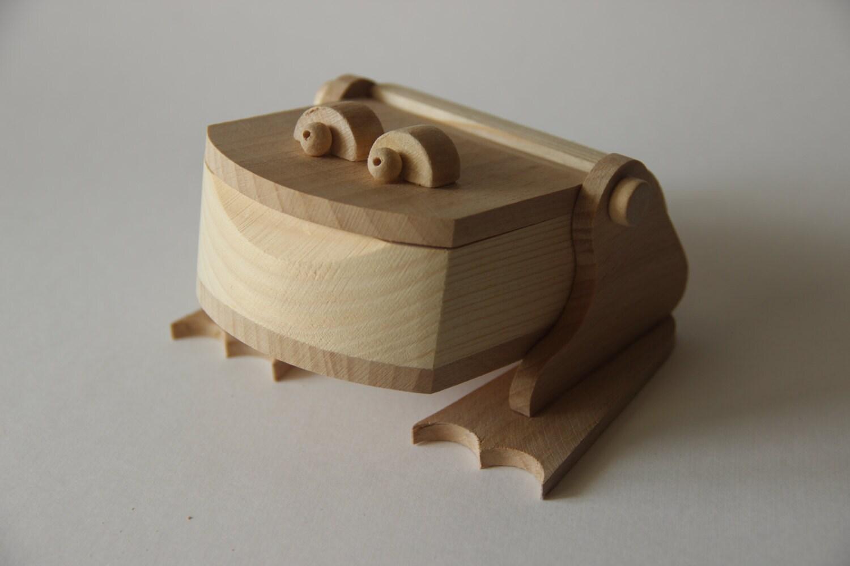 Wooden box toy Frog children jewelry box woden