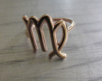 Virgo Ring- zodiac Ring- Zodiac Rose Gold Ring- virgo rose gold ring- Personalized Ring- Horoscope ring