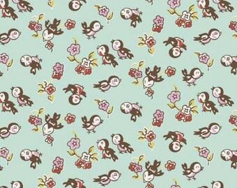 "Nursery Fabric, Bird Fabric: Cute little Milk Sugar Magpie Fabric by Riley Blake C4343 Mint 100% cotton fabric by the yard 36""x43"" (H100)"