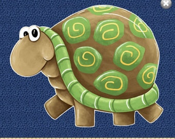 "Susybee Fabric Panel :  Paul & Sheldon Turtle fabric panel - 100% cotton fabric by the Panel 36""x42"" (SB23)"