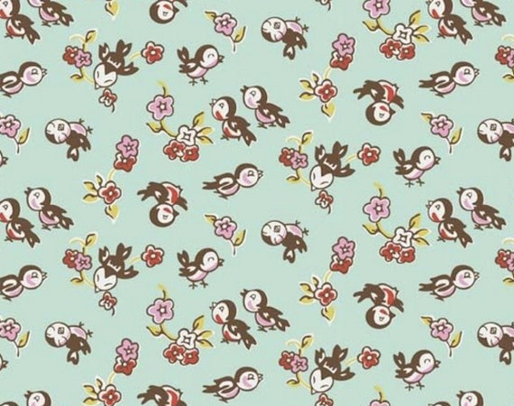 Nursery fabric bird fabric cute little milk sugar magpie for Bird nursery fabric