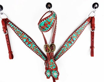 1 One Ear Handmade Butterfly Western Barrel Trail Horse Headstall  Leather Bridle Breast Collar Tack Set Made To Order