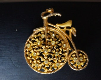 Vintage Penny Farthing Bicycle Brooch Pin with Yellow Rhinestones High Wheeler