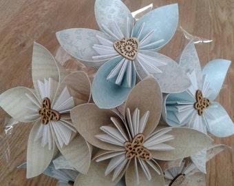 five petal kusudama flower (duck egg blue)