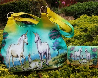 Women's leather Handbag,Gifts For Women,Unicorn Handbag, Hand Painted Leather Shoulder bag, Multi Compartment Ladies Purse