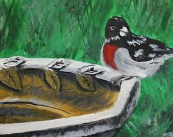 Bird on birdbath Original Acrylic Painting