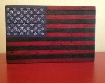 Charred wood American Flag