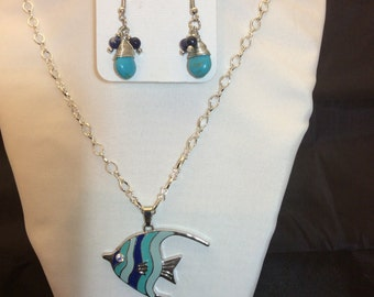 Necklace and Earrings:  Fun fish!