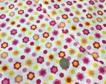 Pink Yellow Daisy on White 100% Cotton Fabric