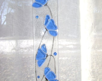 Cobalt Blue Floral Fused Stained Glass Suncatcher