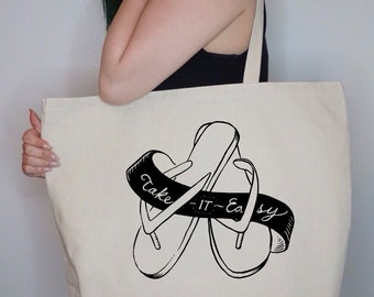 Take it Easy~ Large Canvas Tote Beach/Grocery BAG