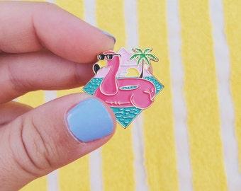 Flamingo Float enamel pin, flair, lapel pin - summer- pink, turquoise, gold