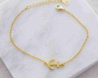 Gold anchor bracelet, anchor bracelet, simple bracelet, bracelet, gold bracelet, girlfriend gift, sister gift, simple bracelet