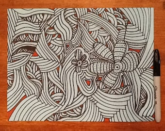 Black and red on light blue Zentangle inspired art